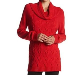 Calvin Klein Twisted Cable Knit Sweater Cowl Neck